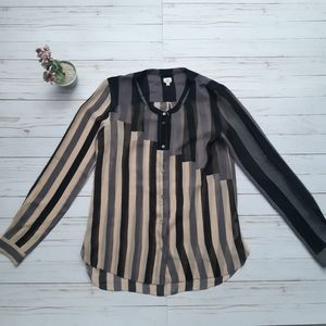 Aritzia WILFRED 100% Silk Striped Button Blouse